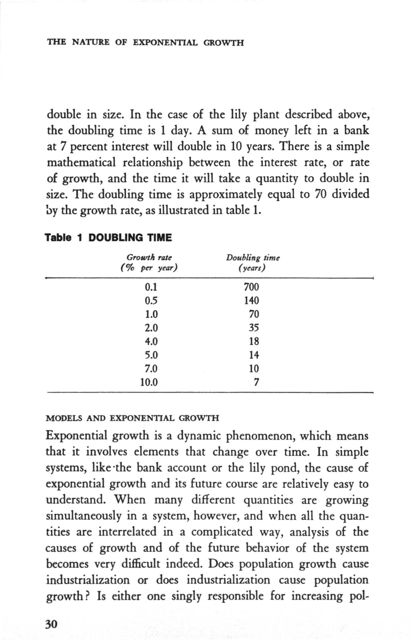THE NATURE OF EXPONENTAL GROWTH double in size. n the case of the lily plant described above, the doubling time is 1 day. A sum of money left in a bank at 7 percent interest will double in 10 years.
