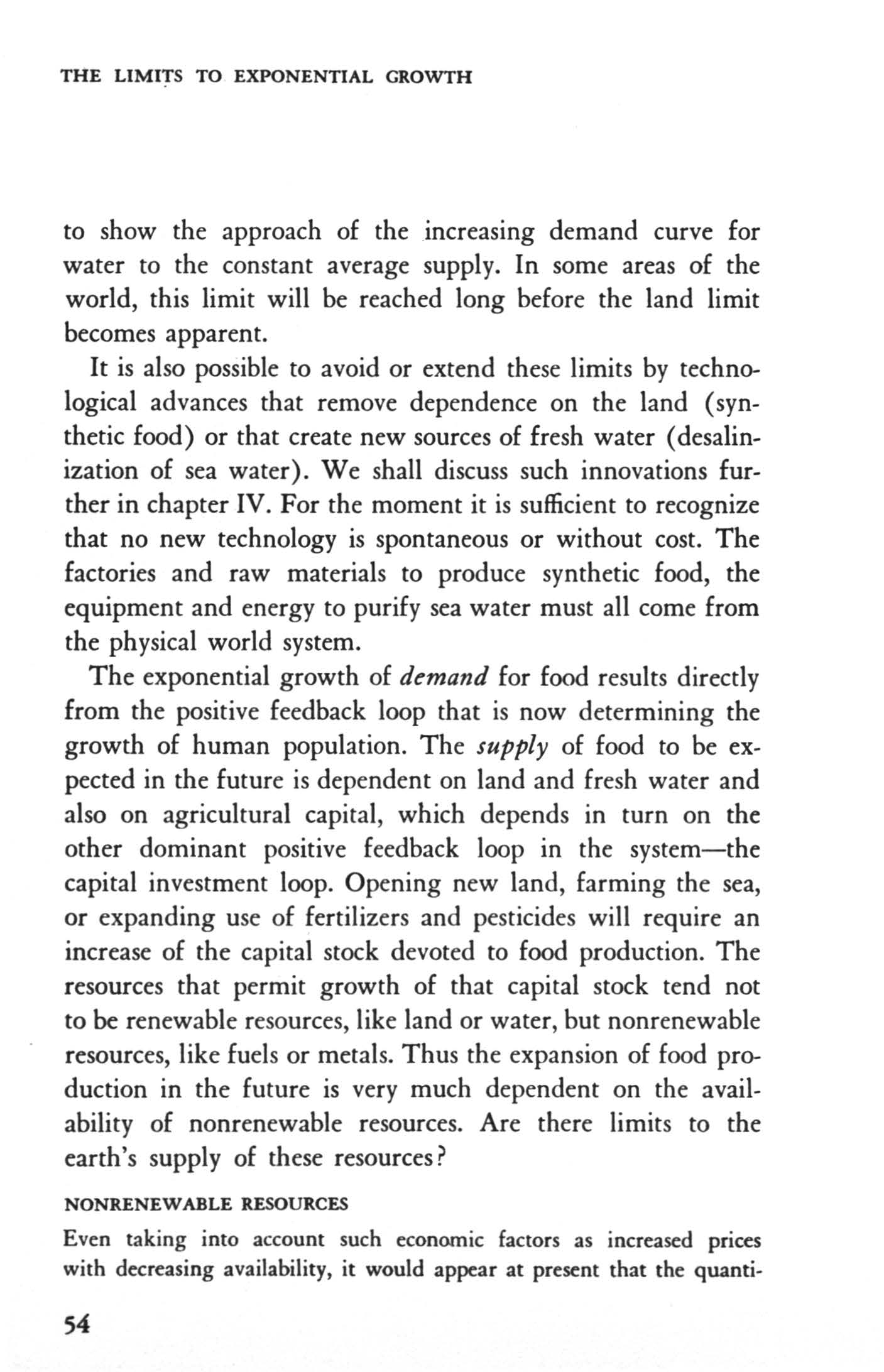 THE LMTS TO EXPONENTAL GROWTH to show the approach of the increasing demand curve for water to the constant average supply.