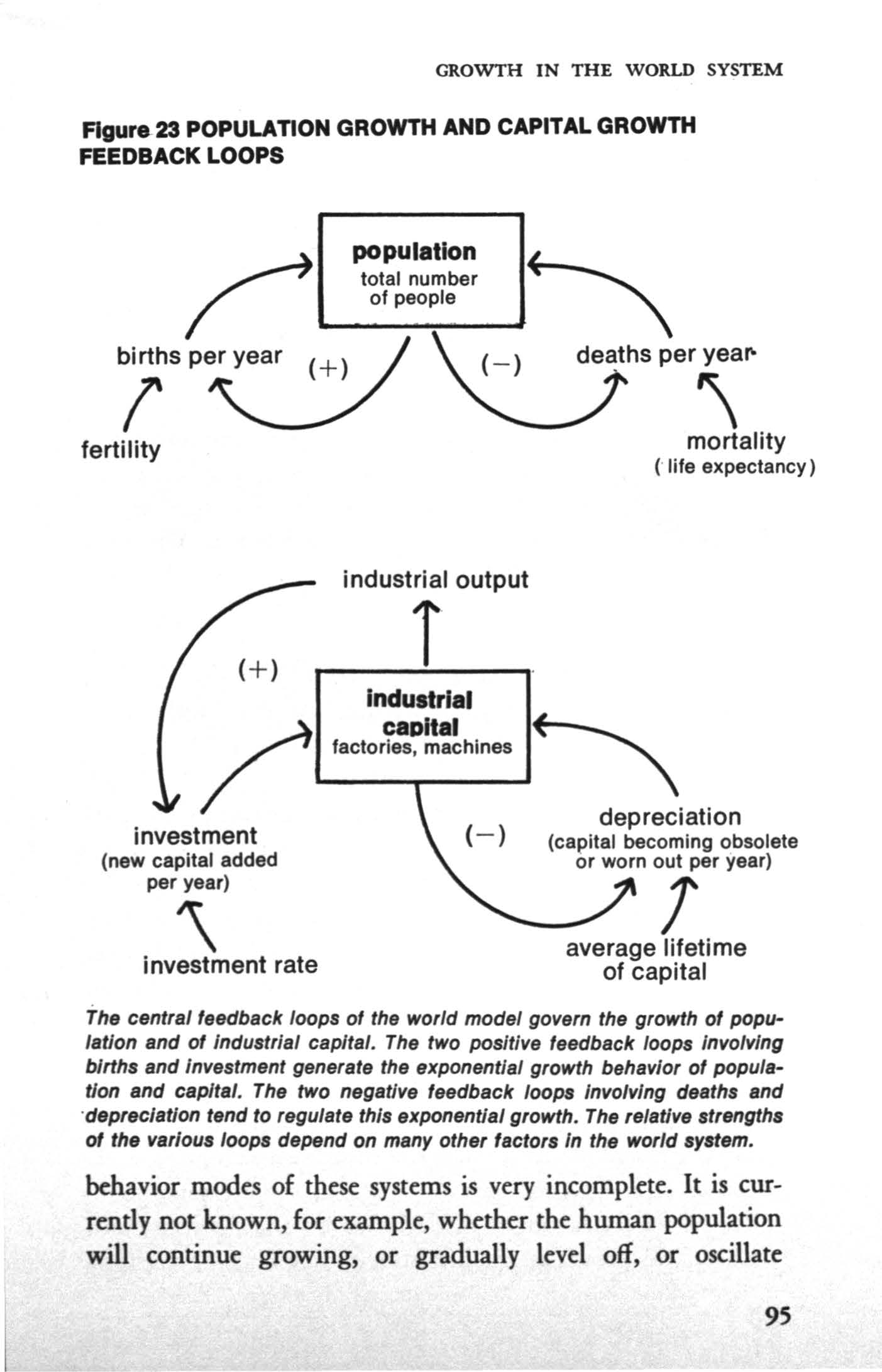 "GROWTH N THE WORLD SYSTEM Figure 23 POPULAnON GROWTH AND CAPTAL GROWTH FEEDBACK LOOPS f ""z:;hsper\ ofpeople \ fertility mortality (""life expectancy) investment (new capital added per year) '\"