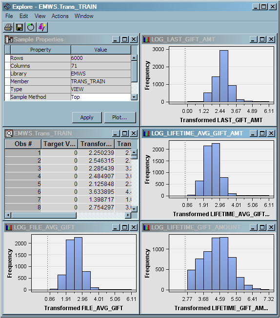 Analyze with a Logistic Regression Model 35 You can select a bar in any histogram, and the observations that are in that bucket are highlighted in the EMWS.