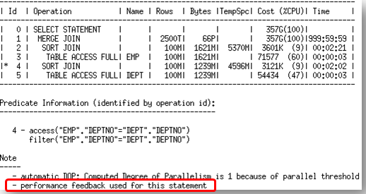 If performance feedback is used for a SQL statement then it is reported in the note section under the plan as shown in figure 14.