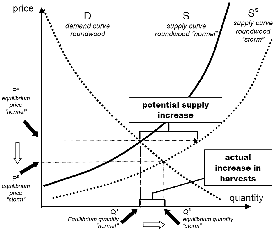 Living with Storm Damage to Forests demand curve (D) and the supply curve (S S ) form a new market equilibrium at their intersection with P S and Q S as equilibrium price and quantity.