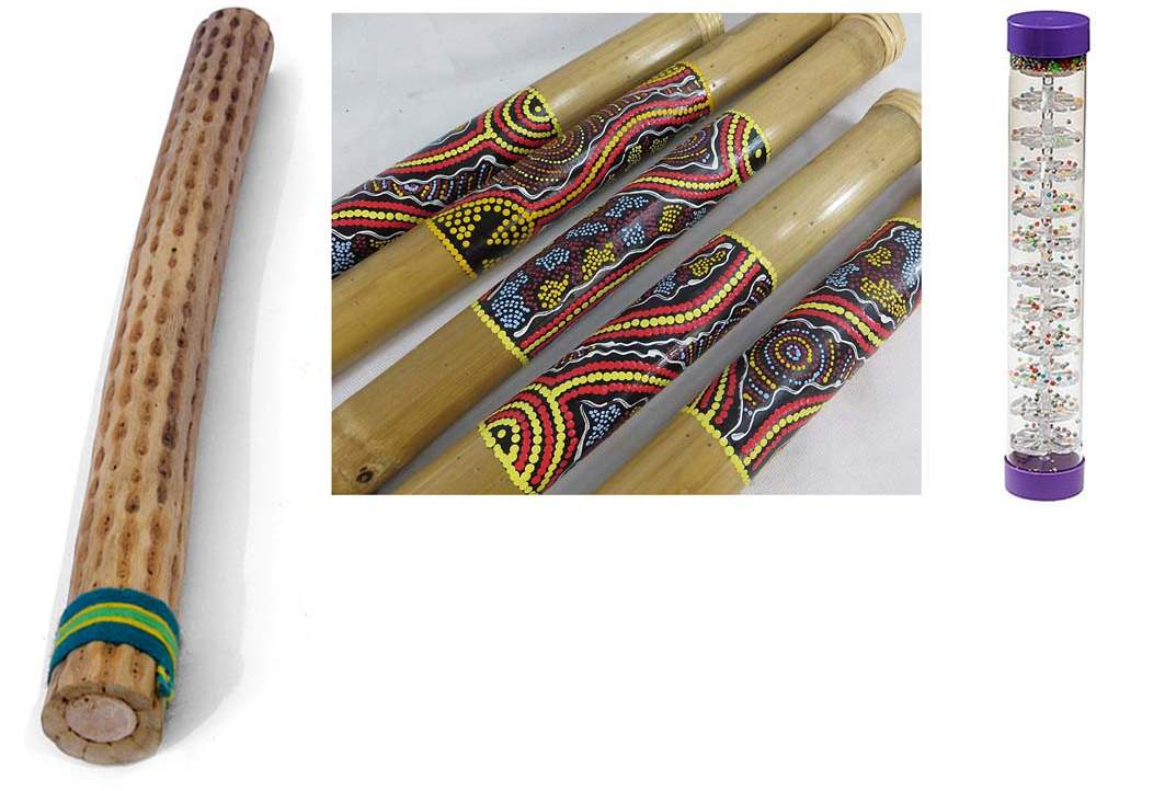 Figure 56-58: Examples of rainsticks - hollow tubes partially filled with small pebbles or beans that have small pins or