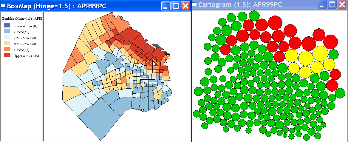 Figure 11.12: Linked cartogram and box map for APR. Note how one of the other options for the cartogram pertains to the Hinge.