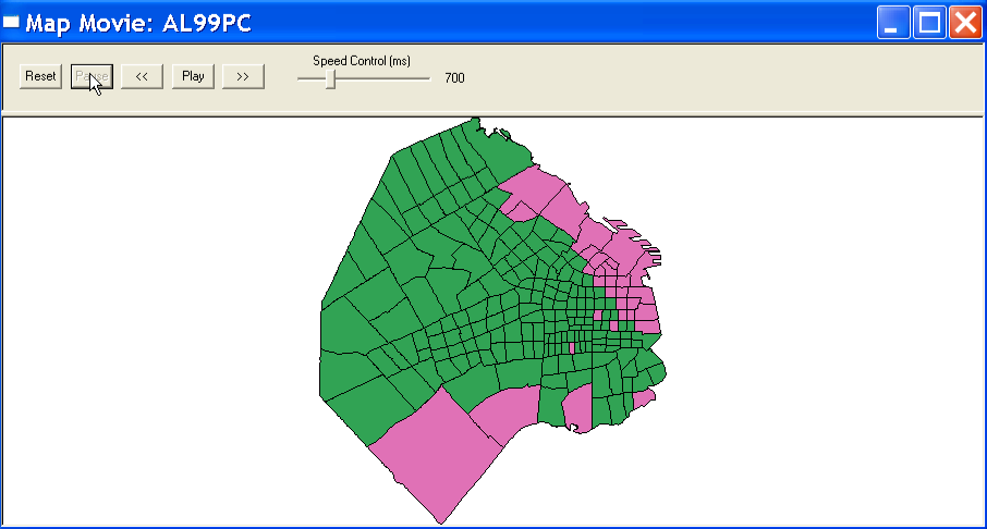 Figure 12.3: Map movie for AL vote results pause. Figure 12.4: Map movie for AL vote results stepwise. Pause button, as in Figure 12.3. Clicking on Reset will wipe out all selected polygons and start over with a blank base map.
