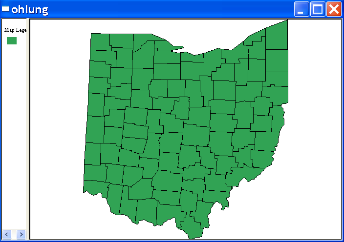 Figure 13.1: Base map for Ohio counties lung cancer data. Figure 13.2: Raw rate mapping function.
