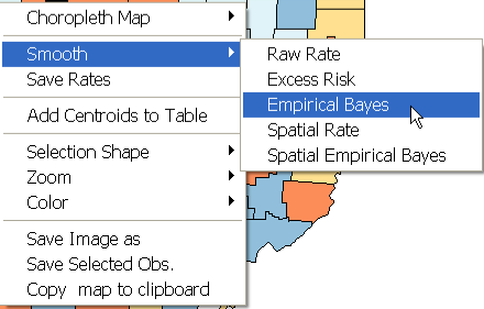 Figure 14.1: Empirical Bayes rate smoothing function. Figure 14.2: Empirical Bayes event and base variable selection. population at risk. Simply put, small counties (i.e., with a small population at risk) will tend to have their rates adjusted considerably, whereas for larger counties the rates will barely change.