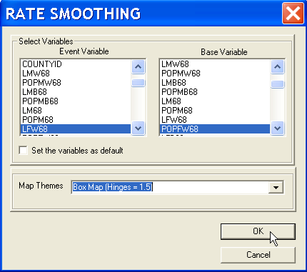This brings up the same variable selection dialog as in the previous rate mapping exercises, shown in Figure 14.2.