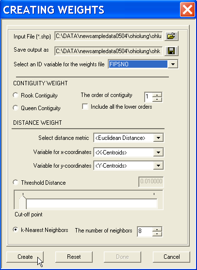Figure 14.5: Spatial weights creation dialog.