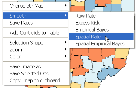 Figure 14.8: Spatial rate smoothing function. Figure 14.9: Spatially smoothed box map for Ohio county lung cancer rates. Rate, as in Figure 14.8. If there is no currently loaded spatial weights file, an error message will appear at this point.