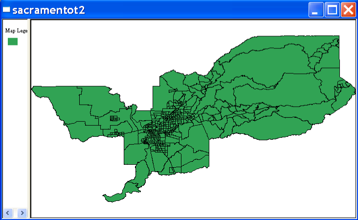 Figure 15.1: Base map for Sacramento census tract data. Figure 15.2: Create weights function. executed without having a current project.