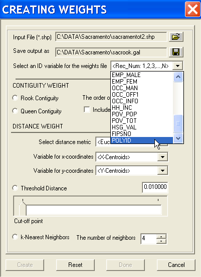 Figure 15.3: Weights creation dialog. Figure 15.