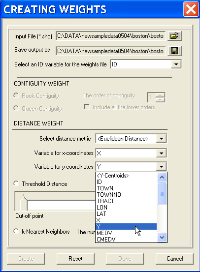 Figure 16.2: Distance weights dialog. Figure 16.