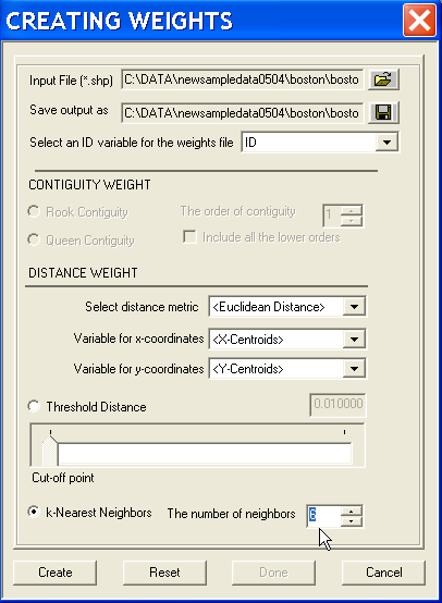 Figure 16.7: Nearest neighbor weights dialog. Figure 16.8: Nearest neighbor connectivity property. the number of neighbors to 6, and click Create to create the weights.