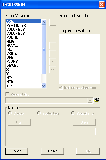 Figure 22.7: Regression model specification dialog. The coefficient variance matrix provides not only the variance of the estimates (on the diagonal) but also all covariances.