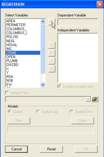 Figure 22.8: Selecting the dependent variable. 22.3 Specifying the Regression Model The regression dialog shown in Figure 22.7 on p.