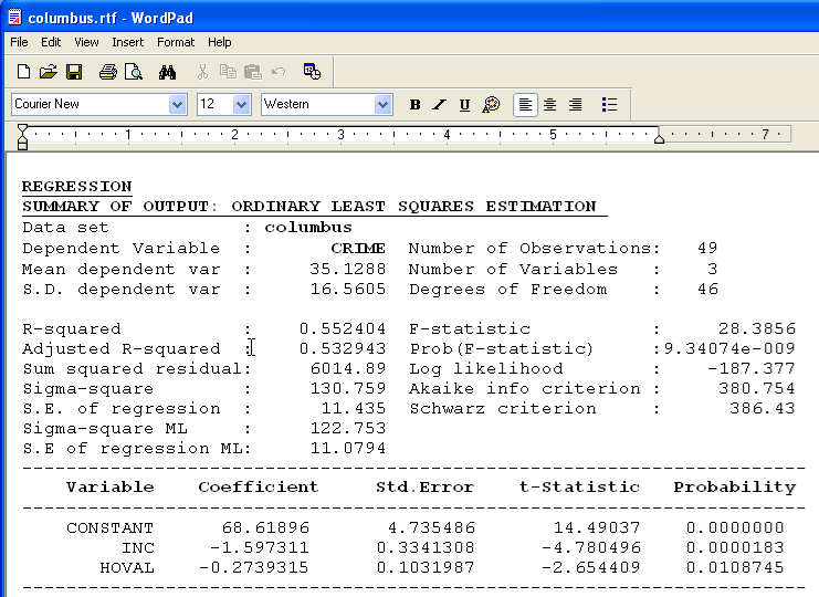 3 Regression Output File The results of the regression are also written