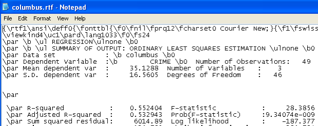 Figure 22.18: OLS rich text format (rtf) output file in Notepad. p. 167). In the current example, this is columbus.rtf. The file is in rich text format and opens readily in Wordpad, Word and other word processors, allowing you to cut and past results to other documents.