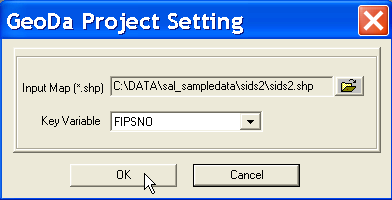 To get started, select the SIDS2 sample data set as the Input Map in the file dialog that appears, and leave the Key variable to its default FIPSNO.