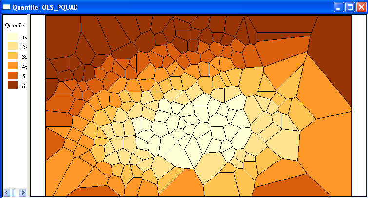 Figure 23.15: Quadratic trend surface predicted value map. significant, but all the other coefficients are.