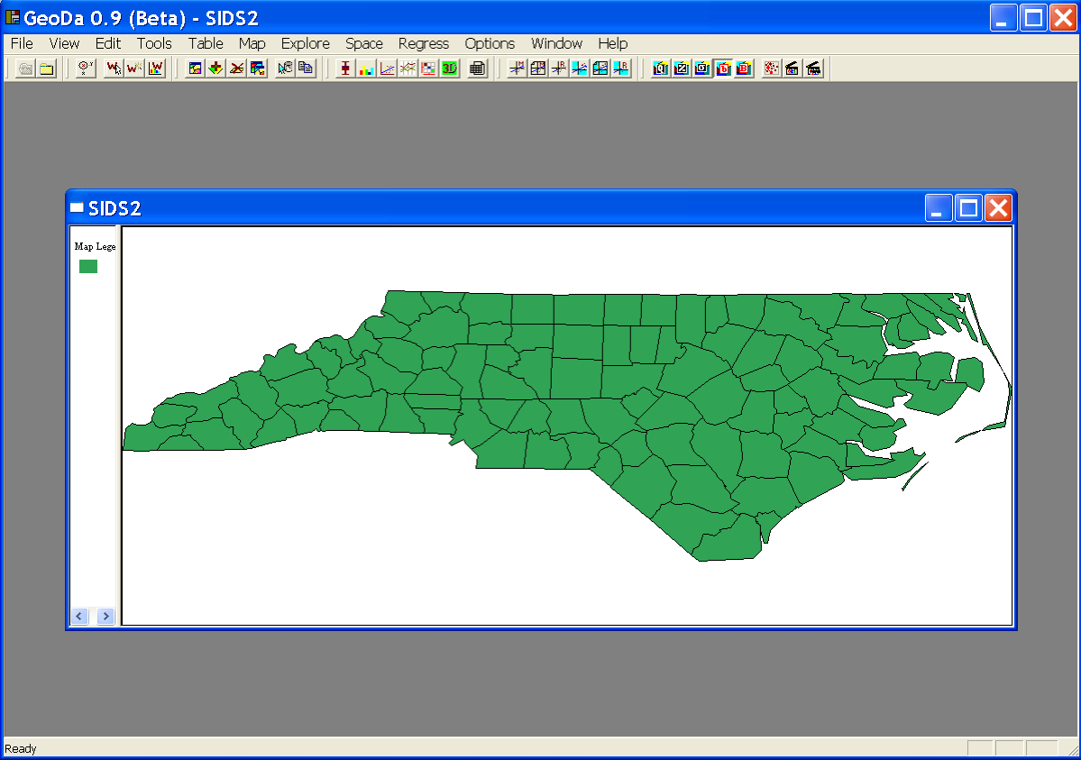 depicting the 100 counties of North Carolina, as in Figure 1.3. The window shows (part of) the legend pane on the left hand size.