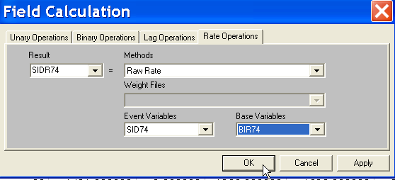 Figure 3.7: Rate calculation tab. Figure 3.8: Adding a new variable to a table. for the new variable name, followed by a click on Add, as in Figure 3.8. A new empty column appears on the extreme right hand side of the table (Figure 3.