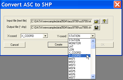 3 Converting Text Input to a Point Shape File The creation of point shape files from text input is invoked from the Tools menu, by selecting Shape > Points from ASCII, as in Figure 4.2.