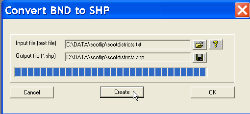 txt for the former and enter scotdistricts as the name for the base map shape file. Next, click Create to start the procedure. When the blue progress bar (see Figure 5.