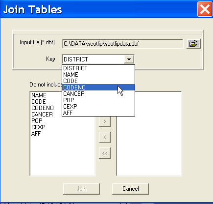 the drop down menu, as in Figure 3.2 on p. 14). This brings up a Join Tables dialog, as in Figure 5.6. Enter the file name for the input file as scotlipdata.