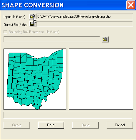 2 Creating a Point Shape File Containing Centroid Coordinates Centroid coordinates can be converted to a point shape file without having a GeoDa project open.