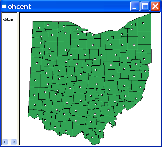 Figure 6.4: Centroid shape file created. Figure 6.5: Centroid point shape file overlaid on original Ohio counties. return to the main interface.