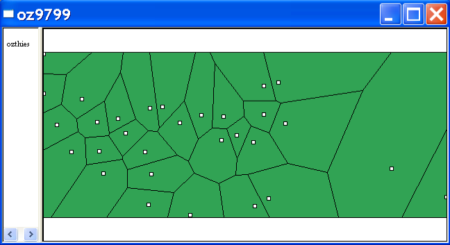 Figure 6.12: Thiessen polygons for Los Angeles basin monitors. 6.4 Practice Use the SCOTLIP data set to create a point shape file with the centroids of the 56 Scottish districts.