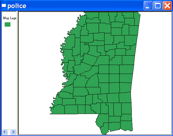 Figure 9.1: Base map for the Mississippi county police expenditure data. Figure 9.