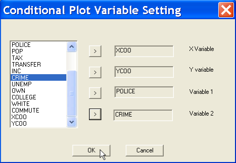 Figure 10.3: Conditional scatter plot variable selection. Figure 10.4: Variables selected in conditional scatter plot.