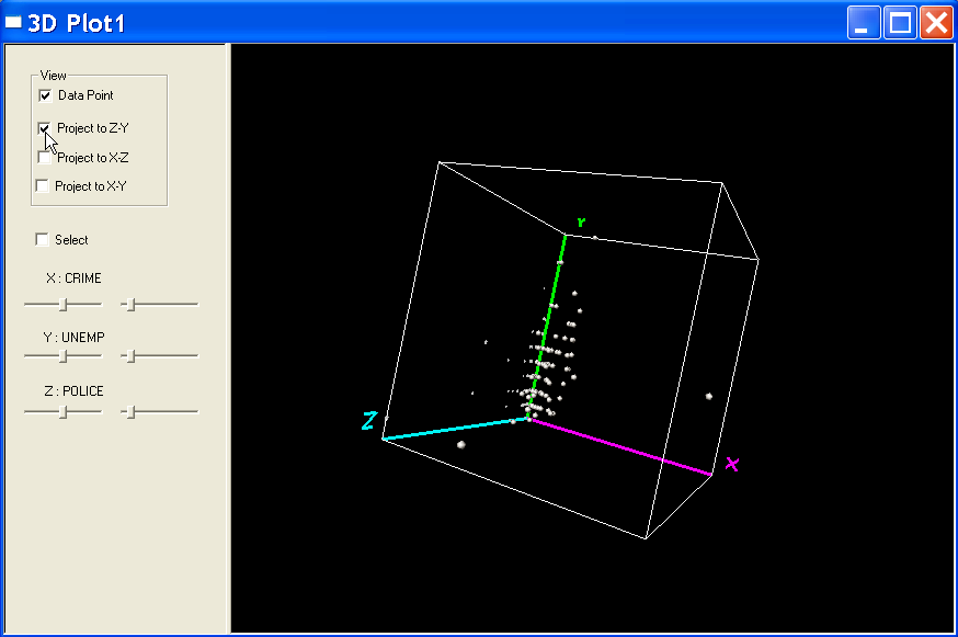 Figure 10.11: 3D scatter plot rotated with 2D projection on the zy panel. Figure 10.12: Setting the selection shape in 3D plot. Figure 10.13: Moving the selection shape in 3D plot.