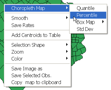 .1. Invoke the percentile map function from the menu, by selecting Map > Percentile or by right clicking in the base map.