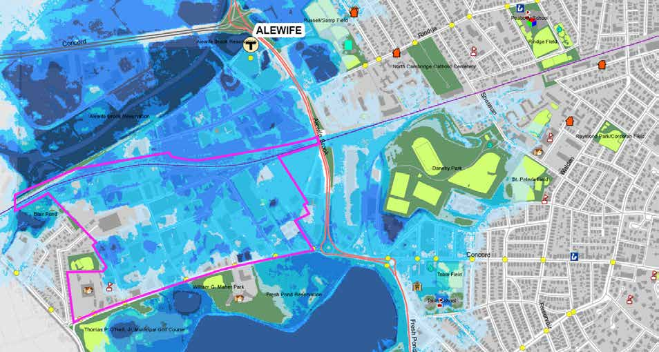 ALEWIFE QUADRANGLE Depending on the degree to which the brook backs up and if it is accompanied by a high runoff event, the Alewife area could face major flooding.