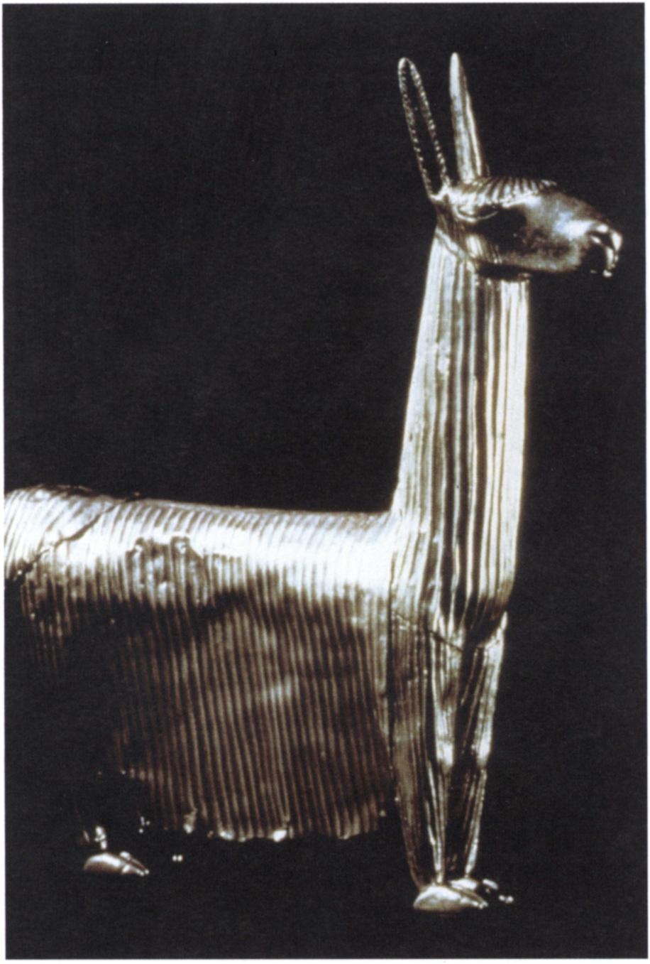 Inca, llama figurine, c. 1400-1530, crimped silver sheet metal, 9% x 8% in. (23.8 x 20.