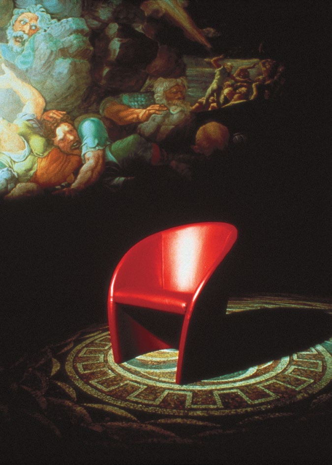 Poltrona Frau, Intervista chair, 1988 When we designed the whole image for the Italian television channel TG2, including graphics and stage design, we