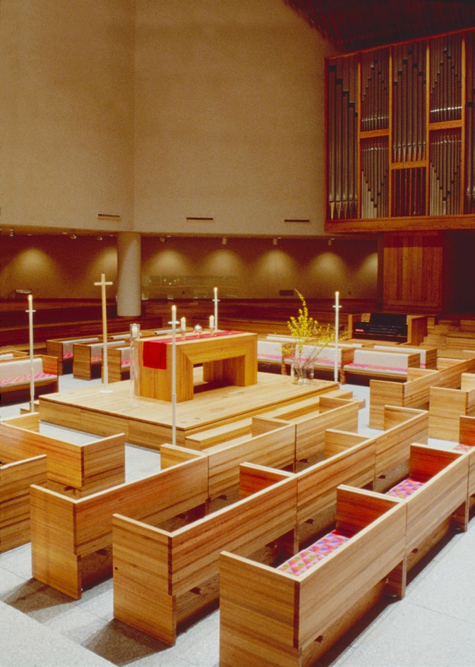 We designed the interior and the furnishings: the organ, pews, cushions, and all the silver items used for religious services.
