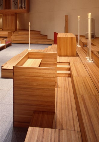 In this spread: The pulpit for the sermon can be engaged with