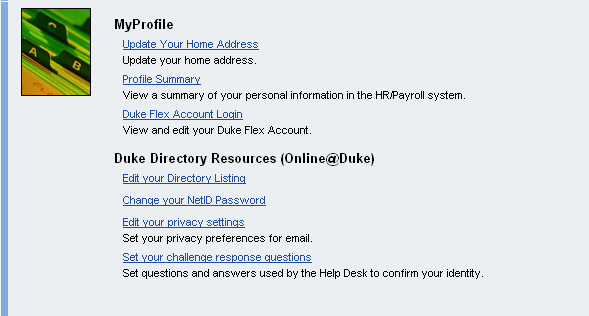 Notice the look of the Duke@Work home tab. NOTE: All users will have the My Info tab.