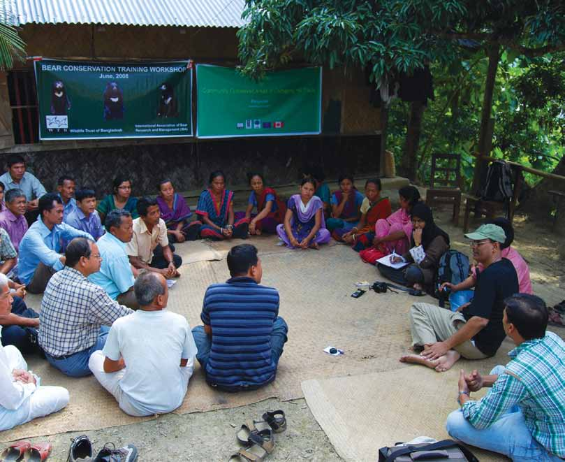 Recognising and supporting territories and areas conserved by indigenous and local communities: Global overview and national case studies Researchers discussing community forestry at Beganachari