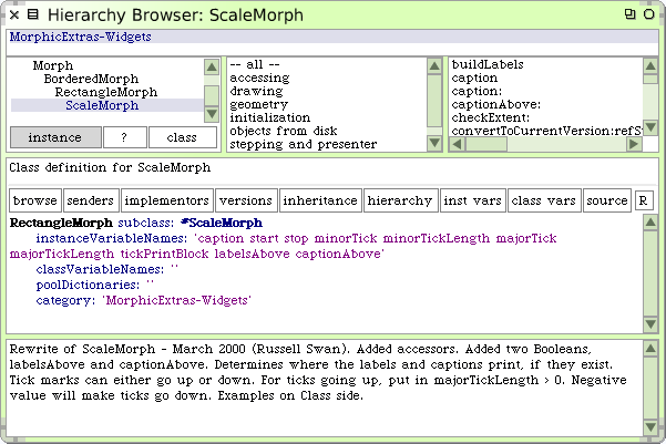 The System Browser 121 Figure 6.11: A hierarchy browser open on ScaleMorph.