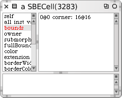 Inspecting an object 35 Figure 2.6: The inspector used to examine a SBECell object. The bottom pane of the inspector is a mini-workspace.