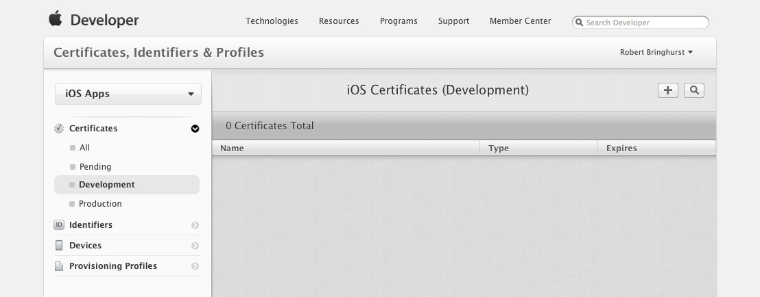 3 Selecting the options on the left side displays the certificates of each category. At this stage, you shouldn t have any development certificates.