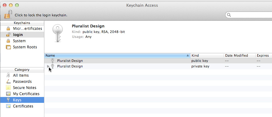 Create a p12 Development Certificate 1. In the Finder, locate the ios_development.cer file you created, and double-click it. This launches the Keychain Access utility and installs the certificate.