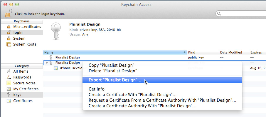 You should see the certificate beneath the private key. If double-clicking the.cer file does not install the certificate, launch Keychain Access and choose File > Import Items to specify the.