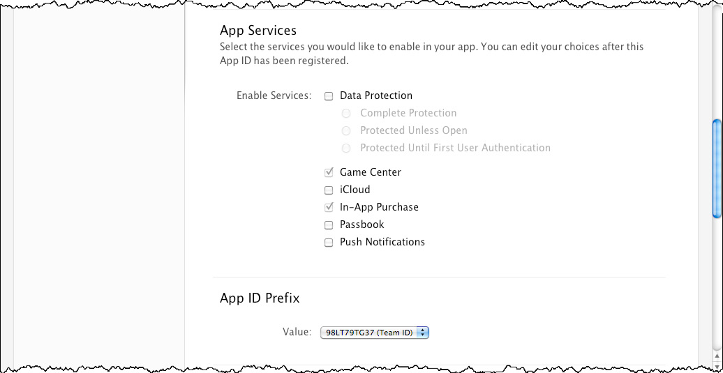 5. For App Services, leave Game Center and In-App Purchase selected (Apple enables these by default), and do not select Data Protection, icloud, or Passbook.