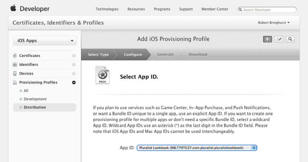 5. Specify the App ID, and click Continue. 6.